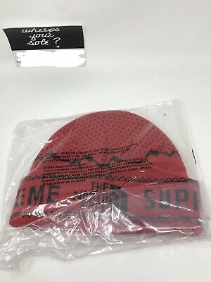 Supreme The North Face TNF Red fold beanie New DS FW18