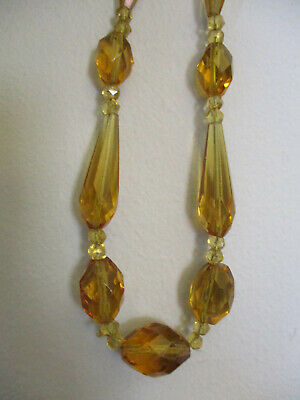 Vintage Antique Art Deco Czech Amber Multi Faceted Prism Glass Beaded Necklace!