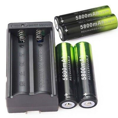 4X 18650 Li-ion 3.7V Rechargeable 5800mAh Battery Smart Charger for flashlight