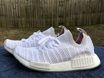 the latest c6082 4be0a NEW DS ADIDAS NMD R1 STLT PK Primeknit Triple White Boost CQ2390 Men's Sz 8