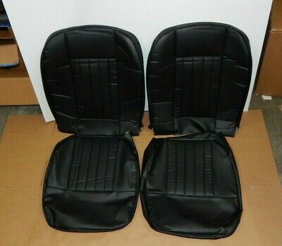 New Front Seat Covers Seat Upholstery for MGB 1963-1968 Black Vinyl W Black Trim
