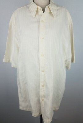 80757a67 The Havanera Co. Men's XL Beige Embroidered Short Sleeve Lounge Shirt