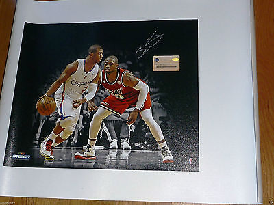 MARQUETTE MIAMI HEAT DWYANE WADE 3 SIGNED Chris Paul Photo on Canvas Steiner COA
