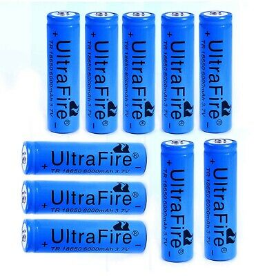 10X Ultrafire 6000mAh 18650 Battery Blue 3.7V Lithium Rechargeable Batteries CA
