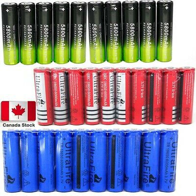 10PCS 6000mAh 18650 Battery Batteries 3.7V Rechargeable Smart Charger CA