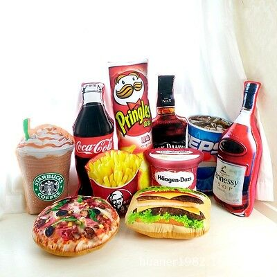 3D Wine Pizza Food Snack Shaped Plush Bed Pillow Cushion Home Decor Party Gifts