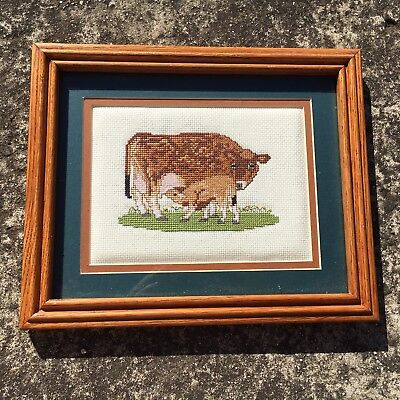 """COUNTRY COWS """"Brown"""" Gorgeous Wall Art Embroidery Picture in Wooden Frame"""