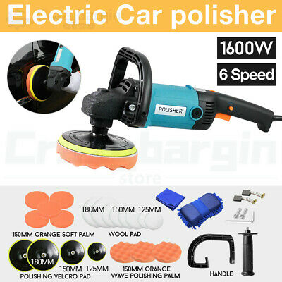 Polisher Car Buffer 180mm 150mm Sander Electric Tools kit 6 Speed 1600W 240V NEW