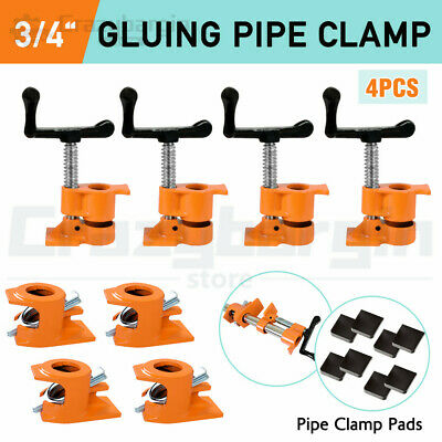 "3/4"" GLUING PIPE CLAMP 4 Pcs WOODWORKING VICE TOOLS Wide Surface protect Pads"