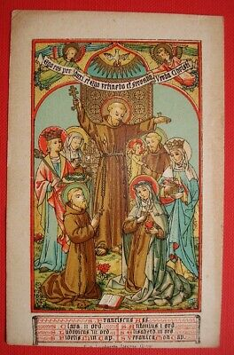 452.St Francis, Anthony, Clara+Others Antique Funeral Holy Card Goldprint