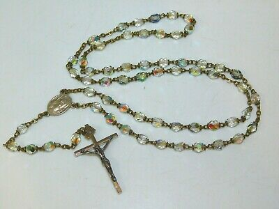 Vintage Dainty Aurora Borealis Faceted Crystal Glass Silver Rosary beads 3j 14