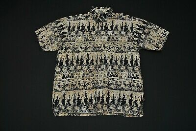 ed9b51591 VTG Buck Knives Hawaiian Aloha Shirt Fish Deer Men's XL Rum Reggae Animal  Print