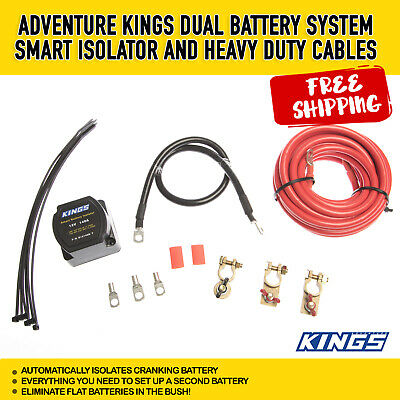 12V Dual Battery System 140A Smart Isolator Heavy Duty Cables Adventure Kings