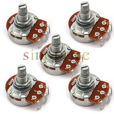 5pcs A500K OHM Audio POTS Potentiometer 24mm Base Replace for Electric Guitar