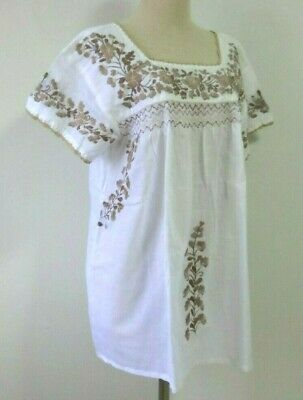 8adaf42c997ba BEAUTIFUL PEASANT BLOUSE Oaxacan Mexican Embroidered White Size L ...