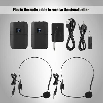 Wireless UHF Lapel Microphone Headset Clip Transmitter Receiver Mic Set System
