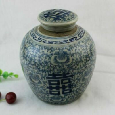 Exquisite Old Blue and white porcelain Hand painting Double happiness Pots