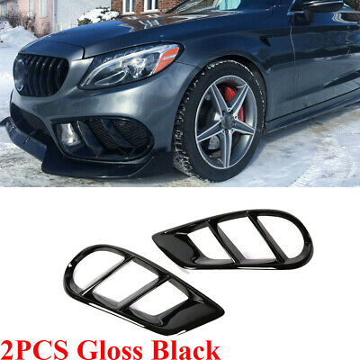 2X Glossy Black ABS Front Bumper Air Vent Cover For Benz W205 C300 C43AMG 15-18