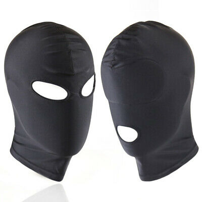 Adult Spandex Open Mouth Face Head Mask Hood Eye Stretchy Breathable Solid Black