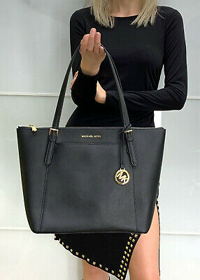 cde3141cdbb3 MICHAEL KORS CIARA Large Top Zip Tote Saffiano Leather Bag Black ...