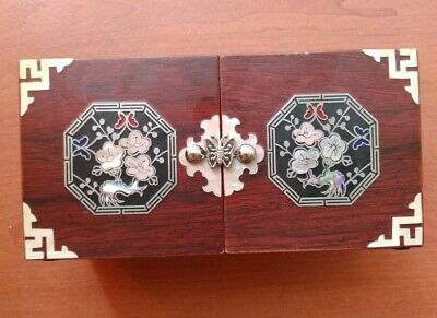 Vintage Asian Chinese Wooden Butterfly Jewelry Trinket Box