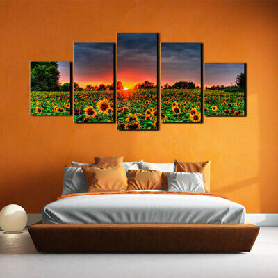 5PCS Sunflower Canvas Oil Painting Print Picture Home Room Wall Decor Unframed