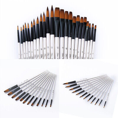 12pcs Artist Paint Brushes Pointed Brush Set Watercolor Painting Acryl NTF
