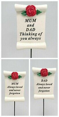 Red Rose Memorial Scroll Sticks Mum Dad Parents Rip Grave Marker Plaque Ornament