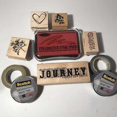 Craft Lot - 5 Rubber Stamps / Ink / Washi Tape Art Scrapbooking Package