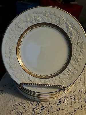 George JONES set Of 7 RAPSODY CRESCENT 27512 pattern With Gold Trim Plates