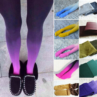 Women Gradient Watercolour Footed Print Sexy Pantyhose Stockings Tights Ombre