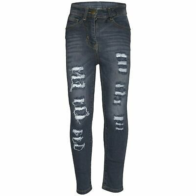 Kids Girls Grey Skinny Jeans Denim Ripped Fashion Stretchy Pants Jegging 5-14 Yr