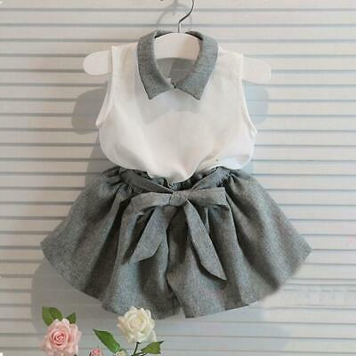 Toddler Children Fashion Girls Cute Sleeveless T-shirt Shorts Suit Clothes Sets