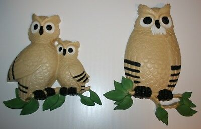 Vintage Homco Owl Family set of 2 Wall Hangings 7403 Made in USA