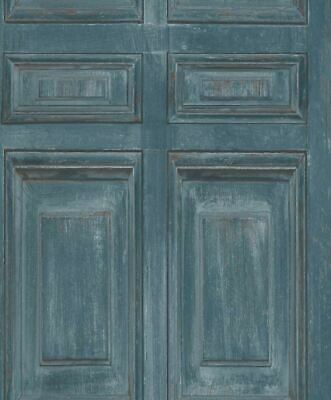 Pale Blue Realistic Wood Panel Effect Non Woven Embossed Vinyl Wallpaper 646418