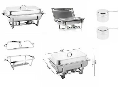 Large Stainless Steel Chafing Dish Sets 2 Fuel Spoons Food Warmers 13.5L Profess