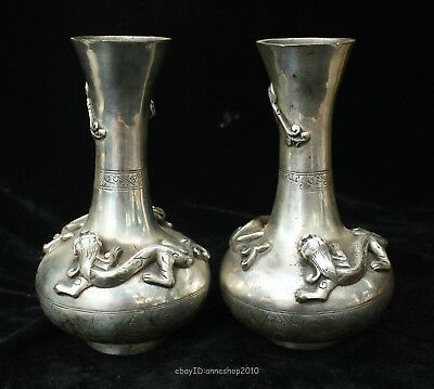 17CM Collectible Chinese old silver Handmade Animal Brave troops vase ACXN