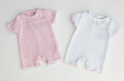 Baby Girls Pex Fine 100% Cotton Knitted Spanish Romper Outfit Pink White NB-12M