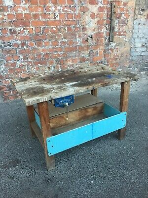 Small Distressed Full Of Character Workshop Table - Work Bench With Vice