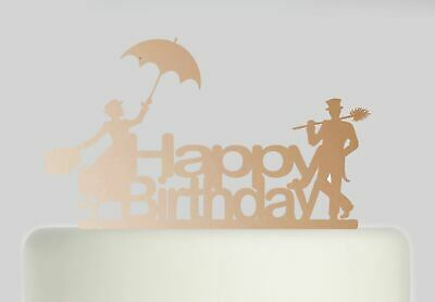 Mary Poppins and Bert Happy Birthday Rose Gold Mirror Acrylic Cake Topper.201