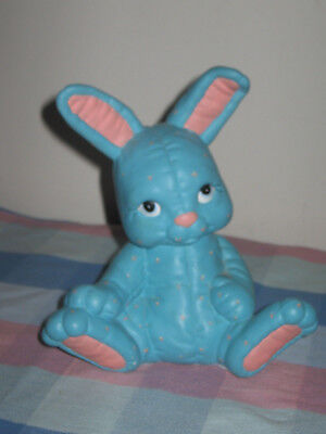 """Ceramic Bunny Rabbit """"Piggy"""" Bank Turquoise Pink Chenille 8"""" Tall"""