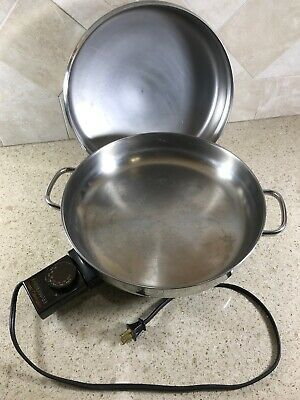 Vintage Stainless FarberWare Electric Skillet Fry Pan Model 344-A With Dome Lid