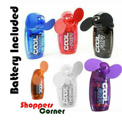 MINI PORTABLE POCKET HAND HELD FAN COOL AIR TRAVEL FAN BATTERIES INCLUDED New