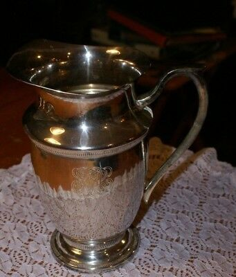 """Two Quart Silver Plated Pitcher INSIGNIA ON IT MADE IN INDIA 8""""H X 5""""D MOUTH"""