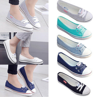 a4b47743701 New Women s Ladies Canvas Shoes Pumps Slip On Summer Size Flat Lace Up  Loafers
