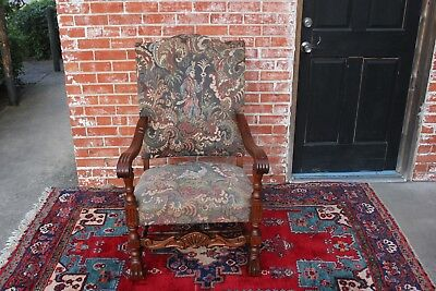 French Antique Oak Louis XIV Upholstered Armchair Living Room Furniture