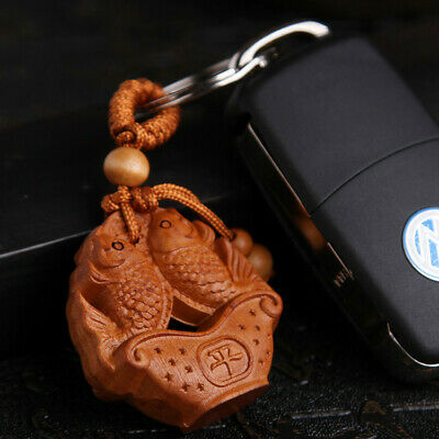 Double Carp Coin Wood 3D Carving Chinese Fengshui Pendant Key Chain Keyring QU