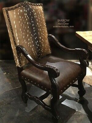 Tuscan Axis Dining Arm Chair - Genuine Leather, Solid Wood, Hand Carved Arms
