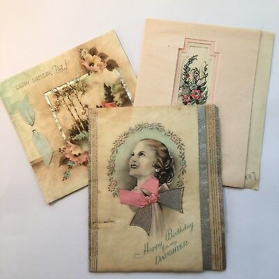 Lot of 3 Vintage Birthday Greeting Cards~Cottage~1930s~Art Deco~Hallmark~Ribbon