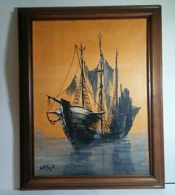 """Original Oil """"Derelict Ship"""" by American Listed Artist Cecil R. Young Jr. 15x19"""""""